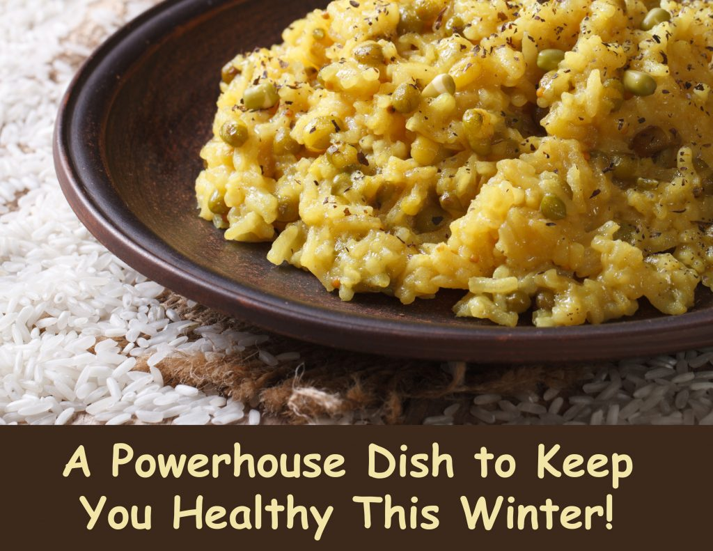 Indian Food: Khichdi with rice and mung bean on a plate close-up. horizontal